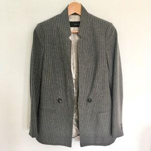 Zara Pinstripe Wool Long Blazer